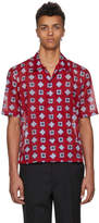 Maison Margiela Red Short Sleeve Printed Shirt