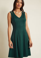 D-61632 Elegant with a bit of edge - that's what this deep green, knit dress adds to your list of looks. With voguely vented shoulders, a V-neck, and a collection of vertical seams that flatter your figure, this ModCloth-exclusive A-line is a true 'do'.
