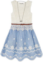 Knitworks Knit Works Sleeveless Chambray Lace Dress - Girls' 7-16