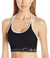 Calvin Klein Women's Long Line Strappy Bra W/ Ruched Front