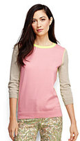 Classic Women's Petite Supima 3/4 Sleeve Crewneck Sweater-Misty Lilac