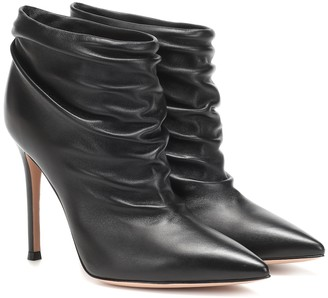 Gianvito Rossi Ruched 105 leather ankle boots
