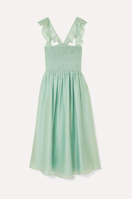 Madewell Ruffled Shirred Voile Dress - Light green