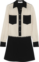 See by Chloe Two-tone crepe and crocheted cotton mini dress