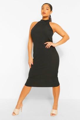 boohoo Plus Rib Halter Neck Midi Dress