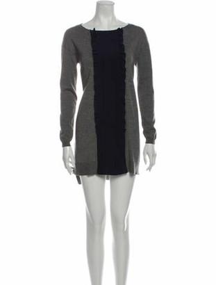 Miu Miu Scoop Neck Mini Dress Grey