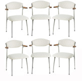 Rejuvenation Set of 6 Upholstered Aluminum Arm Chairs