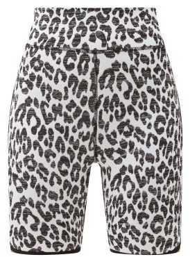 The Upside High-rise Snow Leopard-jacquard Cycling Shorts - Leopard