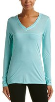 Trina Turk Recreation Women's Heathered Washy Jersey Solid Colored Long Sleeve V-Neck Shirt