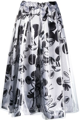 Comme des Garcons elasticated Mickey Mouse-print skirt