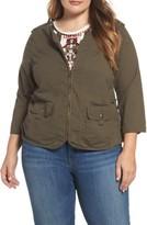 Plus Size Women's Wit & Wisdom Knit Back Utility Jacket