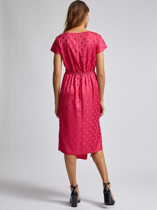 Dorothy Perkins Hot Pink Jacquard Manipulated Waist Midi Dress