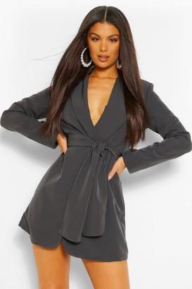 boohoo Petite Pleated Blazer Dress