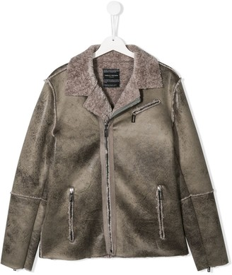 Paolo Pecora Kids TEEN faux shearling biker jacket
