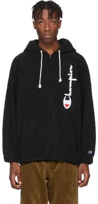 Champion Reverse Weave Black Sherpa Full Zip Hoodie
