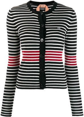 No.21 Striped Knitted Cardigan