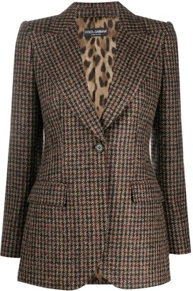 Dolce & Gabbana Houndstooth Fitted Blazer