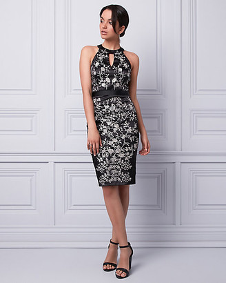 Le Château Embroidered Sateen Halter Dress