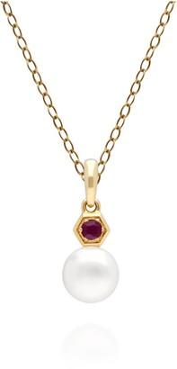 Gemondo Ruby & White Pearl Pendant in Yellow Gold