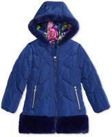 London Fog Hooded Puffer Jacket with Faux-Fur Trim, Toddler Girls