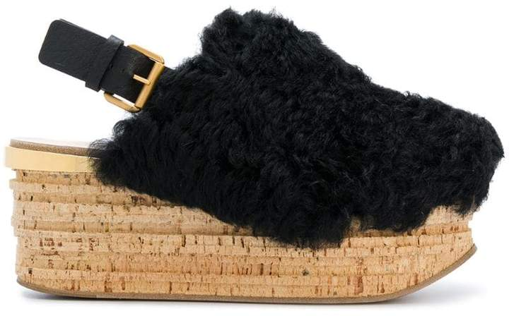 Chloé Camille shearling wedges
