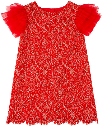 Charabia Woven Lace Dress w/ Tulle Flutter Sleeves, Size 4-8