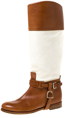 Ralph Lauren Tan/White Canvas and Leather Riding Knee High Boots Size 37