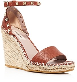 Valentino Women's Rockstud Double Espadrille Wedge Sandals