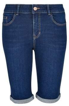 Dorothy Perkins Womens Blue Indigo Authentic Knee Shorts, Blue