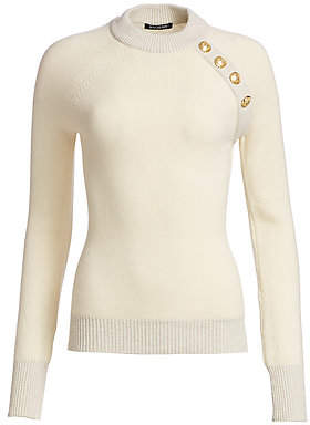 Balmain Women's Buttoned Cashmere-Blend Pullover Sweater