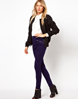 Asos Skinny Twill Pants in High Waist with Tape Detail