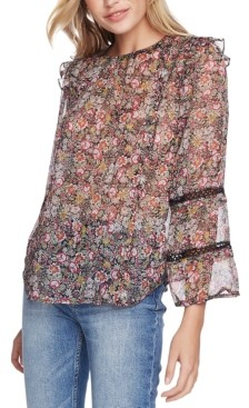 1 STATE Floral-Print Ruffled Lace-Detail Top