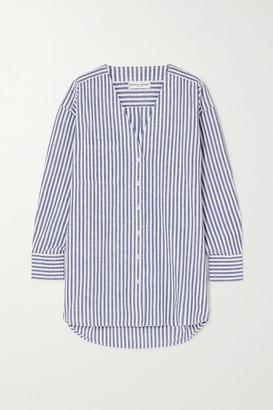 Apiece Apart Varna Oversized Striped Cotton And Linen-blend Shirt - Light blue