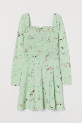 H&M Smocked Jersey Dress - Green