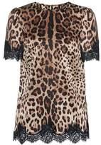 Dolce & Gabbana Leopard-printed satin top
