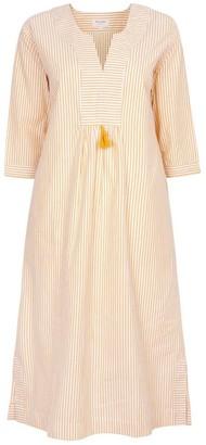 Nologo Chic At Ease Midi Dress - Cotton Stripe - Daffodil