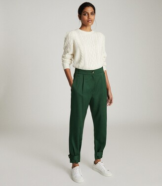 Reiss Duke - Pleat Front Tapered Trousers in Green