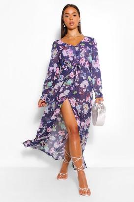 boohoo Sheer V Neck Front Split Maxi Dress