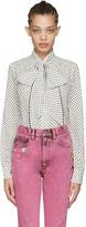 Marc Jacobs Ivory Polka Dot Tie-neck Shirt