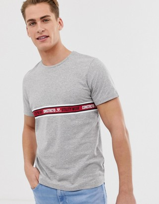Jack and Jones Core t-shirt with taping detail-Grey