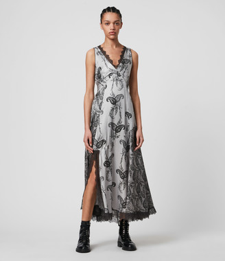 AllSaints Nysa Kashmir Silk Blend Dress