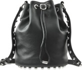 Alexander Wang Alpha Soft Bucket Bag In Fine Grain Pebbled Leather And Silver