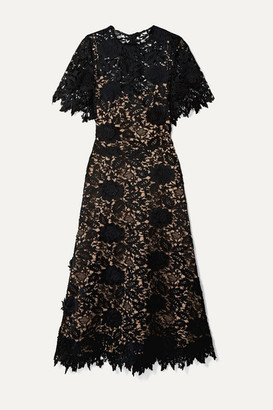 Lela Rose Embroidered Guipure Lace Midi Dress - Black