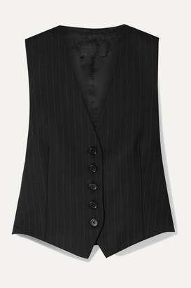 Nili Lotan Angelina Pinstriped Wool-blend Twill Vest - Black