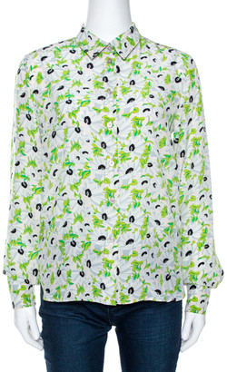 Stella McCartney Green Floral Printed Silk Long Sleeve Eva Blouse S