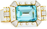 David Webb Aquamarine & White Enamel Bracelet with Diamonds in 18K Gold & Platinum