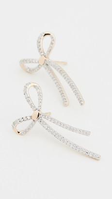Adina 14k Long Pave Bow Post Earrings