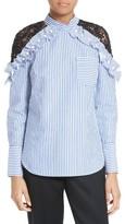 Self-Portrait Women's Lace Shoulder Stripe Shirt