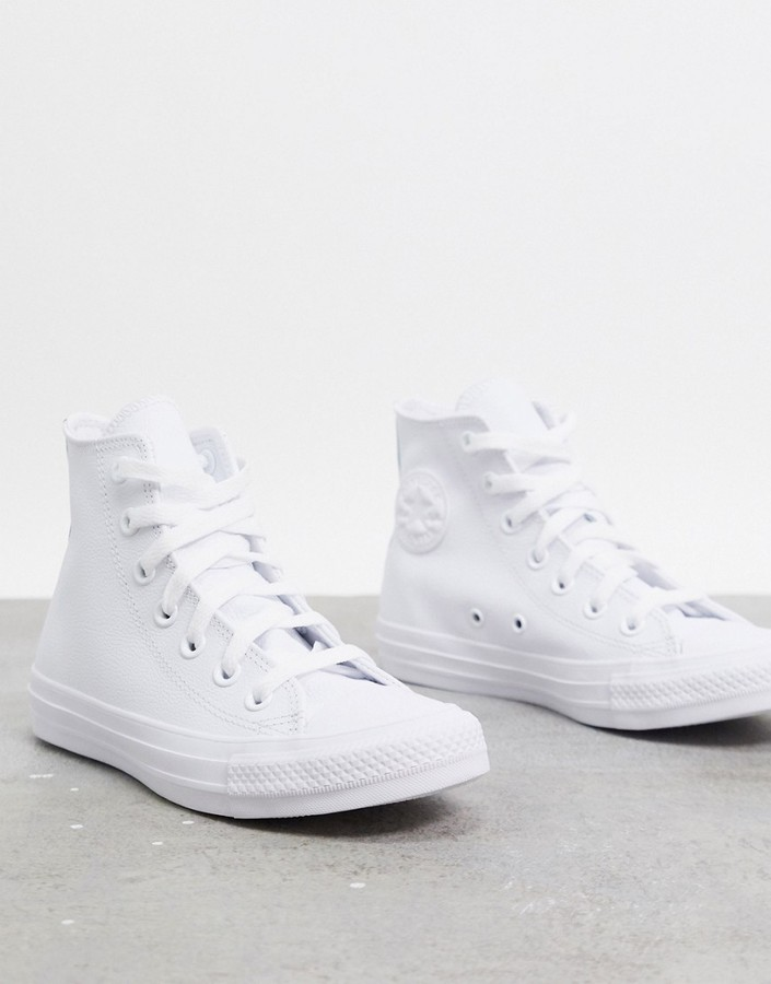 Converse Chuck Taylor All Star Hi white leather monochrome trainers