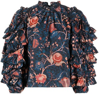 Ulla Johnson Floral Ruffle Blouse